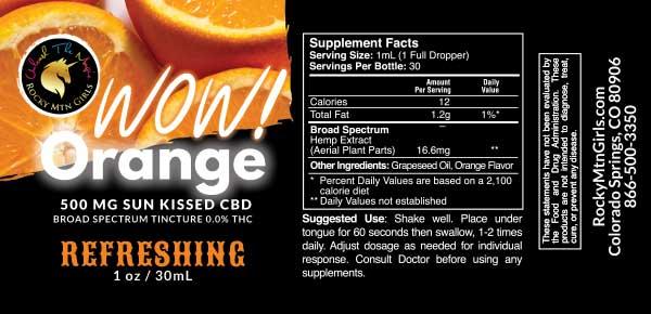 Rocky Mountain Girls Hemp CBD Products - 500mg Orange Flavored CBD Tincture label