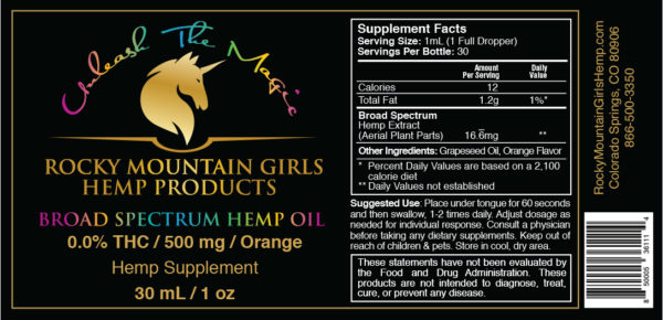 Rocky Mountain Girls CBD Hemp Products - CBD Tincture Label - 500mg -Orange Flavor