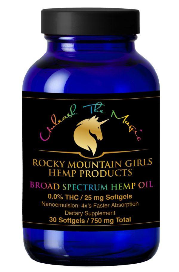 Rocky Mountain Girls Hemp Products Broad Spectrum CBD Softgels 25mg 30ct