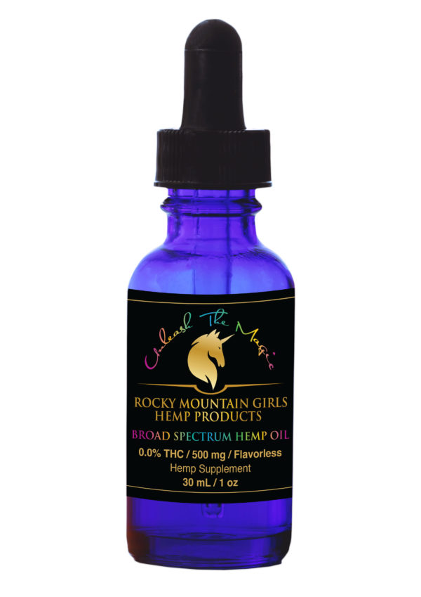 CBD Tincture -Rocky-Mountain-Girls-Hemp-CBD-Products-for-People,-Pets-and-Horses--Broad-Spectrum-CBD-Oil-–-500mg-Flavorless