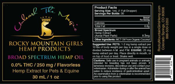 Rocky-Mountain-Girls-Hemp-CBD-Products-for-People,-Pets-and-Horses--Broad-Spectrum-Dog_Pet-CBD-Oil-250mg-Flavorless Label