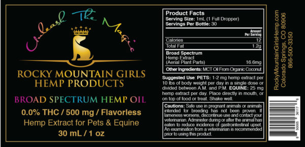 Rocky-Mountain-Girls-Hemp-CBD-Products-for-People,-Pets-and-Horses--Broad-Spectrum-Dog_Pet-CBD-Oil-500mg-Flavorless Label.jpg