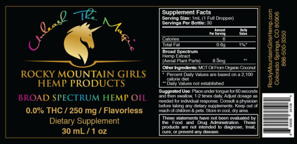 250mg RMG Flavorless Hemp CBD Oil -UPC