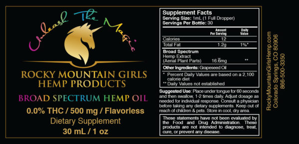 Rocky Mountain Girls Hemp Products CBD Oil 500mg MCT Flavorless Grapeseed Label.jpg