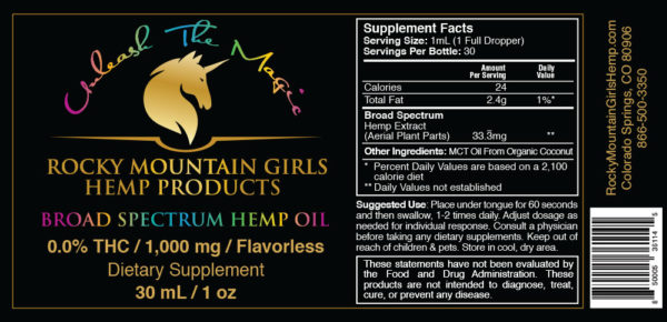 1000mg Flavorless Hemp Oil -UPC