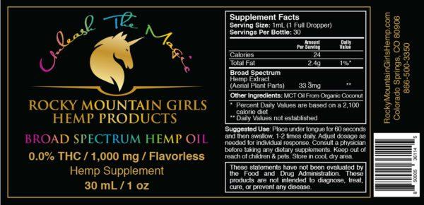 Rocky Mountain Girls CBD Hemp Products - CBD Tincture Label - Broad Spectrum - 1000mg